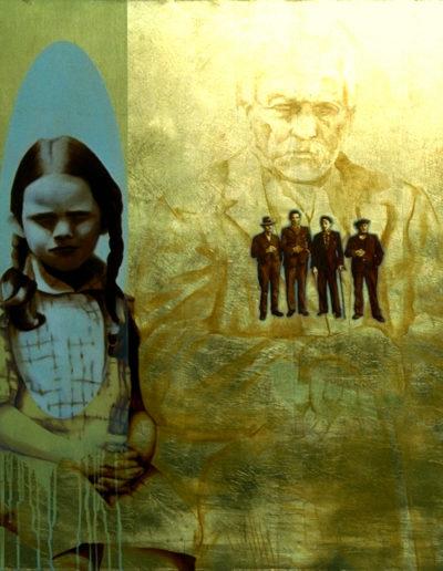 AÏEUX, 1997. Huile et feuille d'or sur toile 80 x 80 cm.