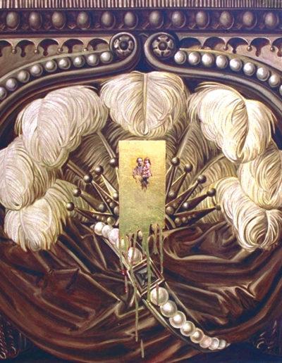 COUSIN, 1996. Huile et feuille d'or sur toile 80 x 80 cm.
